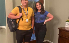 At their home, Lauren (right) and Nick Kern (left) take a picture before heading to their first day of in- person school. They went back to the school building when it reopened August 24, 2020.
