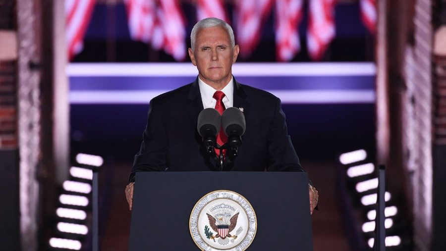 Vice president mike pence speaks in front of a crowd at the white house during the 2020 republican national convention