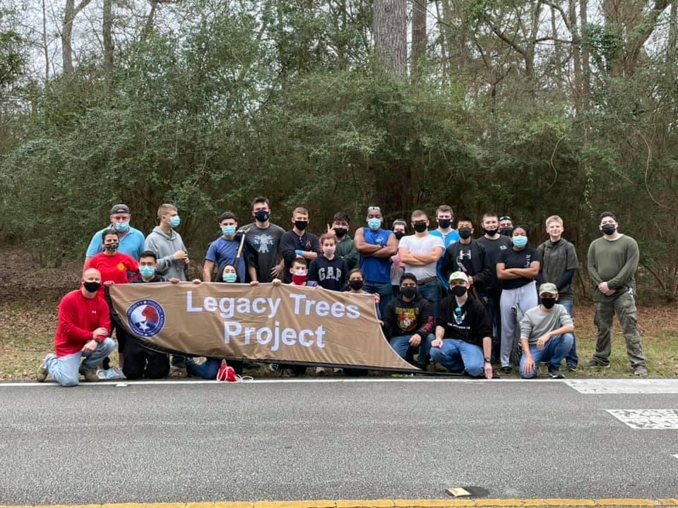 Twenty three cadets participated in the Legacy Trees Project at Mercer Botanical Gardens on January 30th, removing invasive species in the area to help the native plant life.