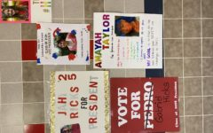 Freshmen campaign posters hung across campus
