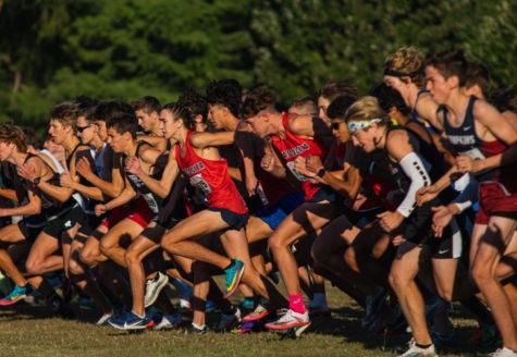 Varsity boys race off the line at McNeil Invitational